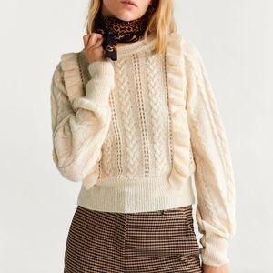 Mango Ruffle & CableKnit Wool Blend Sweater